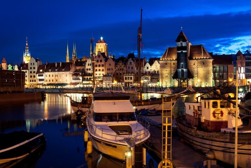 Porto alla notte, Polonia di Danzica fotografia stock libera da diritti