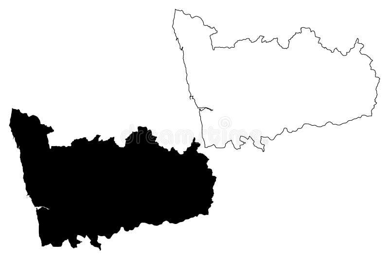 Porto-Bezirks-portugiesische Republik, Portugal-Kartenvektorillustration, Gekritzelskizze Porto-Karte vektor abbildung