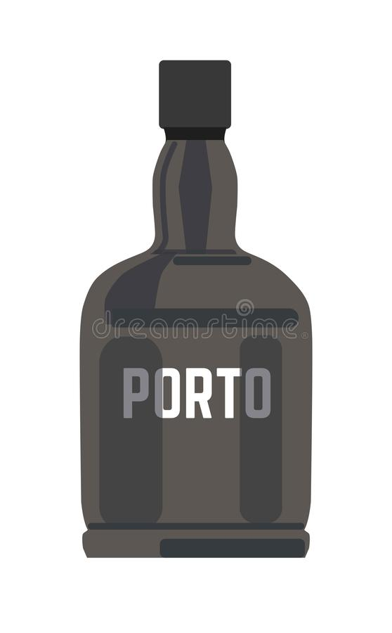 Porto in black glossy bottle with silver sign. Isolated cartoon flat vector illustration on white background. Strong wine produced at north-east of Portugal vector illustration