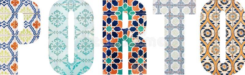 Porto bokstäver som fylls med portugisiska tegelplattor royaltyfri illustrationer