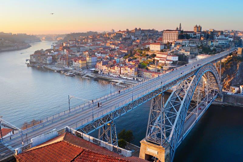Porto brugpanorama stock foto's