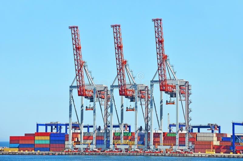 Porto, carga, guindaste, recipiente, navio, transporte, s fotografia de stock