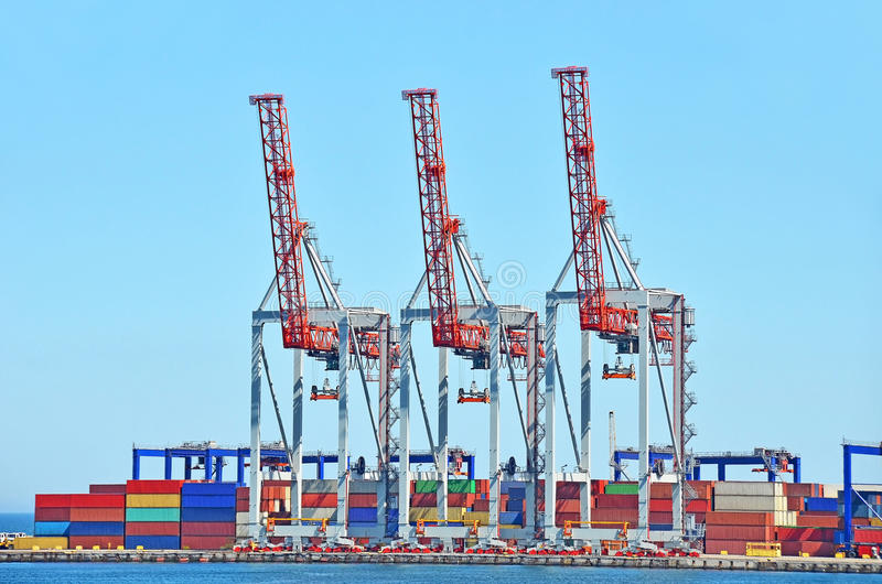 Porto, carico, gru, contenitore, nave, trasporto, s fotografia stock
