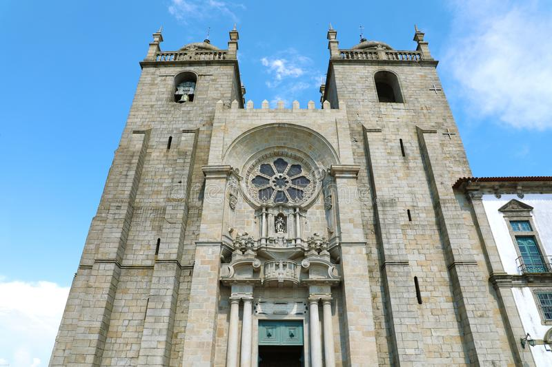 Porto Cathedral facade, Roman Catholic church in Portugal royalty free stock image