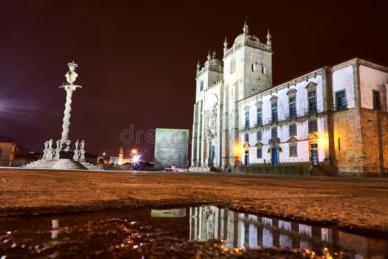 Porto Cathedral facade view, Roman Catholic church, Portugal. Construction around 1110 royalty free stock photos