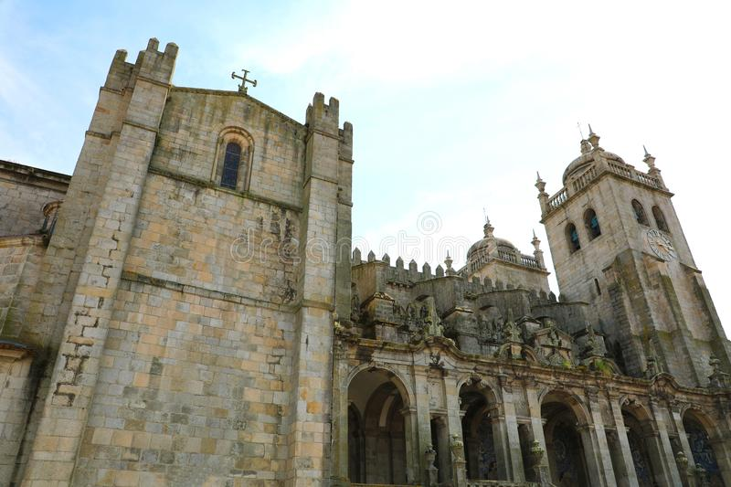 Porto Cathedral lateral view, Roman Catholic church in Portugal stock photos