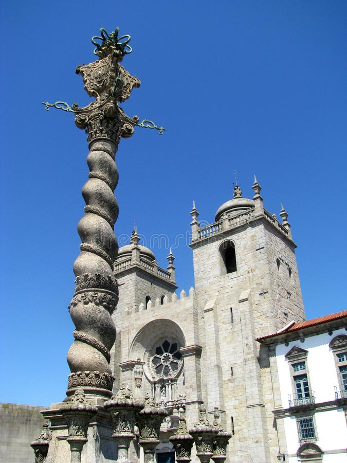 The Porto Cathedral Portuguese: Se do Porto is a Roman Catholic church located in the historical centre of the city of Porto stock photos