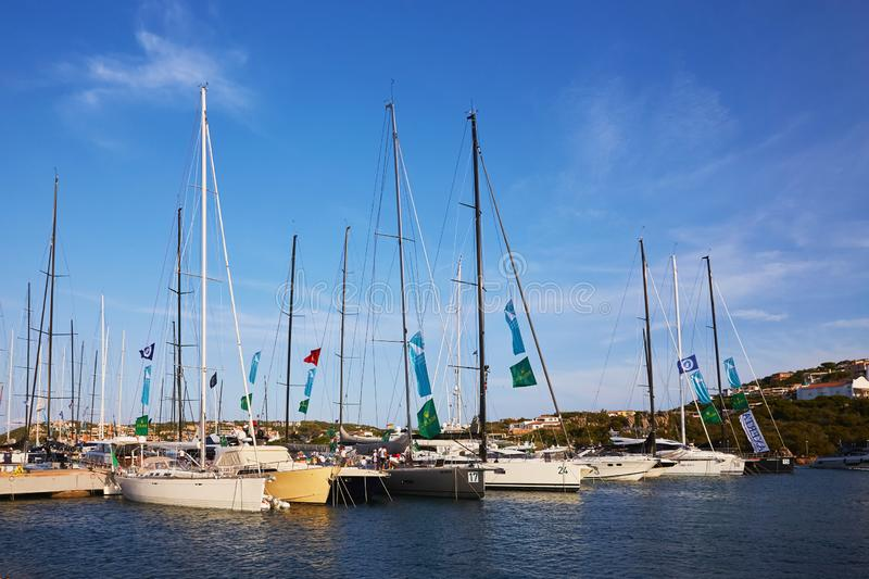 Porto Cervo, Italy - September 1, 2019. Participants in the Maxi Yacht Rolex Cup boat race in port royalty free stock images