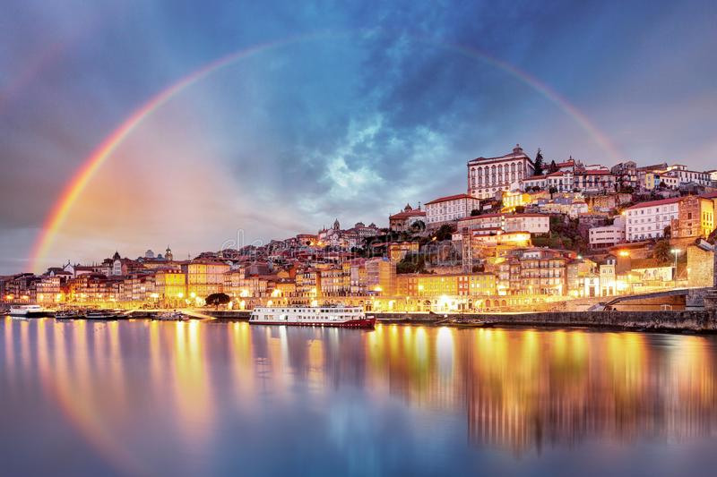 Porto city at sunset, Portugal.  royalty free stock image