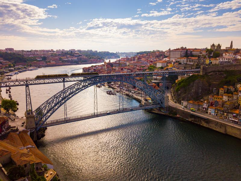 Porto city view with Douro river and Dom Luis I bridge, Portugal royalty free stock image