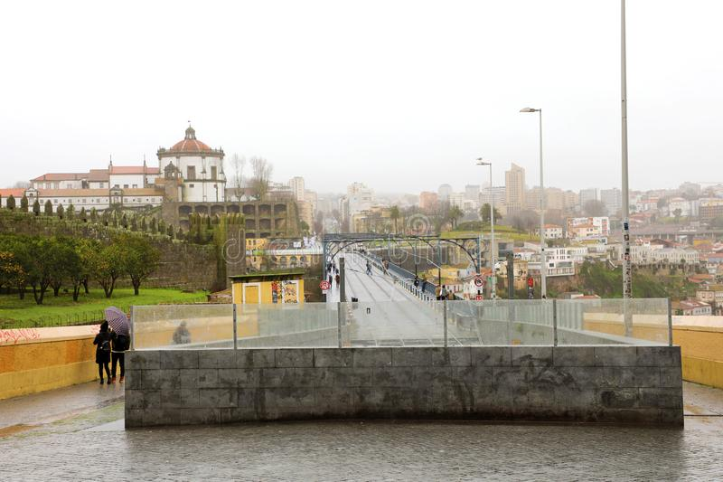 Porto cityscape with the railway to Vila Nova de Gaia, Portugal.  royalty free stock photo