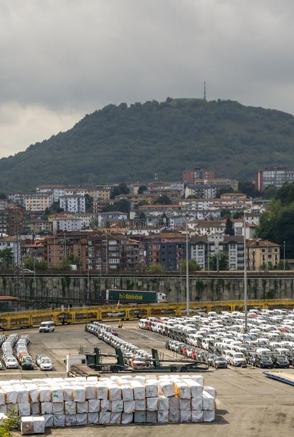 Porto com carros imagem de stock royalty free