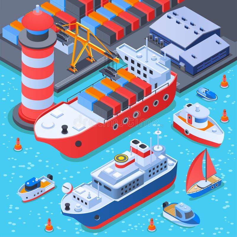 Porto com composição isométrica dos navios ilustração do vetor