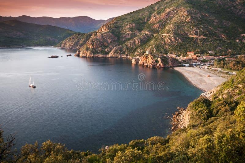 Porto - Corsica. Beautiful sunset over Porto city, Corsica - France royalty free stock photo