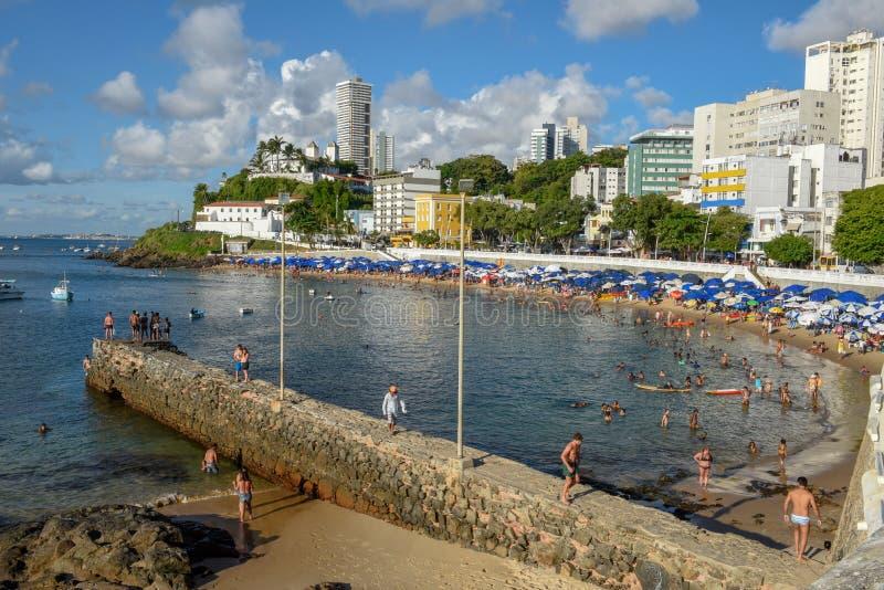 Porto da Barra strand i Salvador Bahia på Brasilien arkivbild