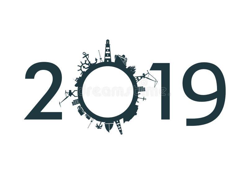 Porto da carga e numner 2019 ilustração do vetor