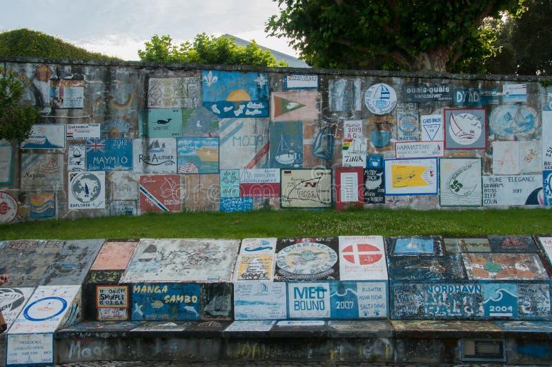 Porto da cidade de Horta, ilha de Faial, Açores fotos de stock