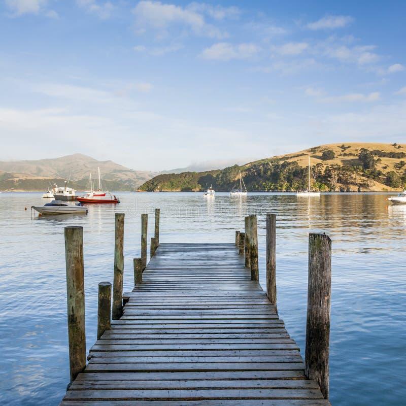 Porto de Akaroa, Nova Zelândia fotos de stock royalty free