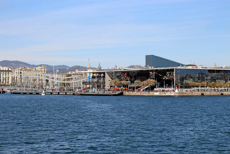 Porto de Barcelona, porto Vell da Espanha fotografia de stock