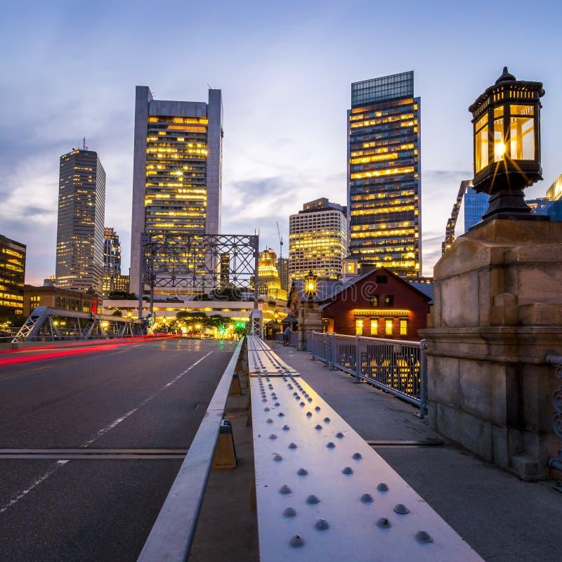 Porto de Boston e distrito financeiro imagem de stock