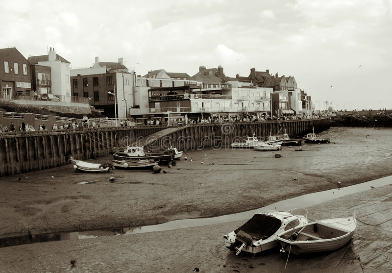 Porto de Bridlington na maré baixa imagem de stock