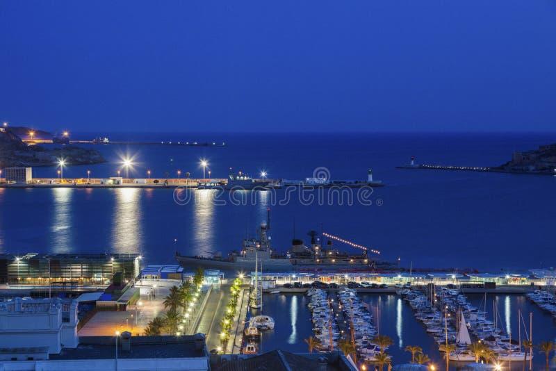 Porto de Cartagena na noite fotografia de stock