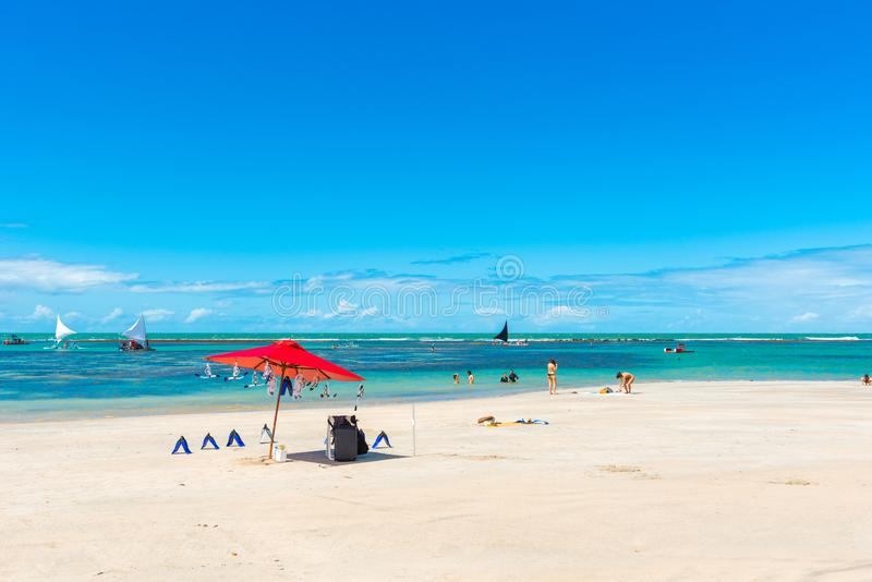 Porto de Galinhas Beach in Ipojuca Municipality, Pernambuco, Brazil.  royalty free stock image