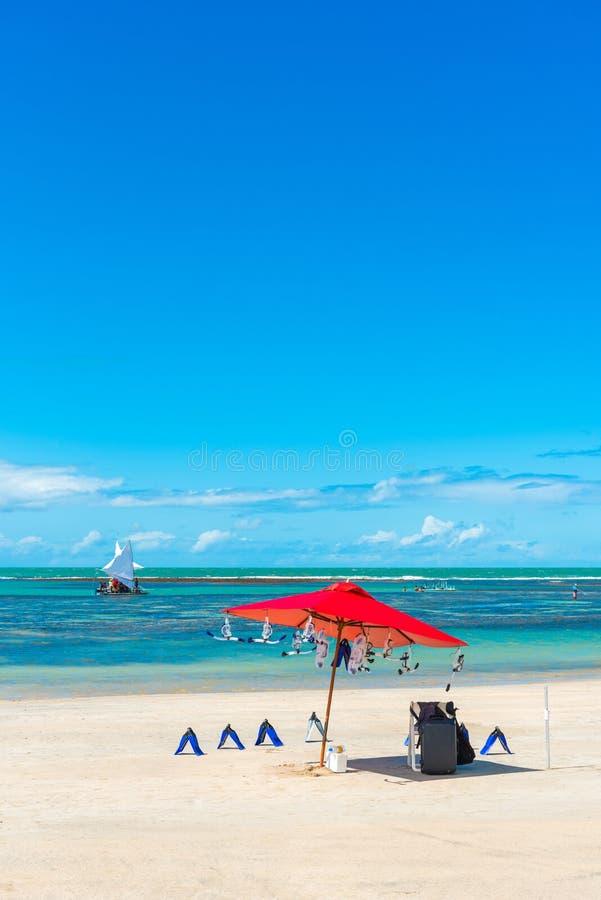 Porto de Galinhas Beach in Ipojuca Municipality, Pernambuco, Brazil. Vertical.  stock photos