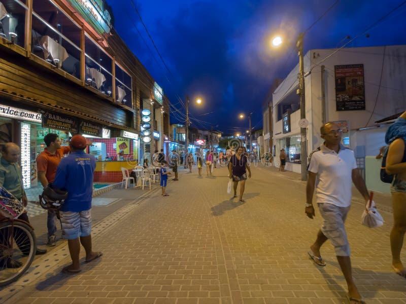 Porto de Galinhas City. Tourist town of Porto de Galinhas the night - Recife - Brazil royalty free stock photo