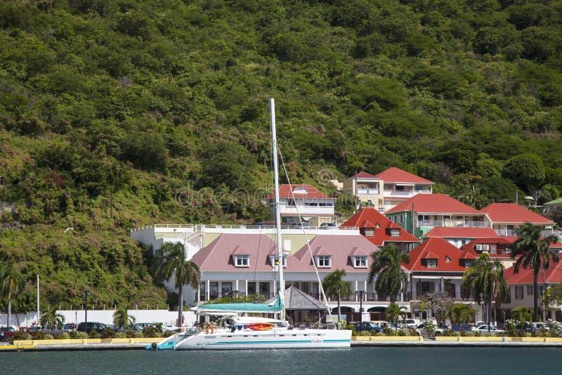 Porto de Gustavia em St Barts, Índias Ocidentais francesas fotografia de stock