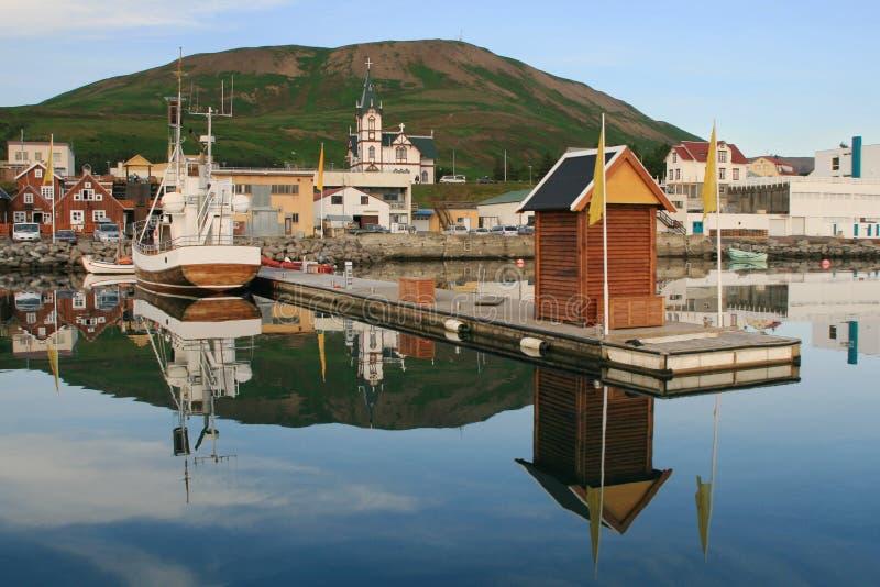 Porto de Husavik imagens de stock