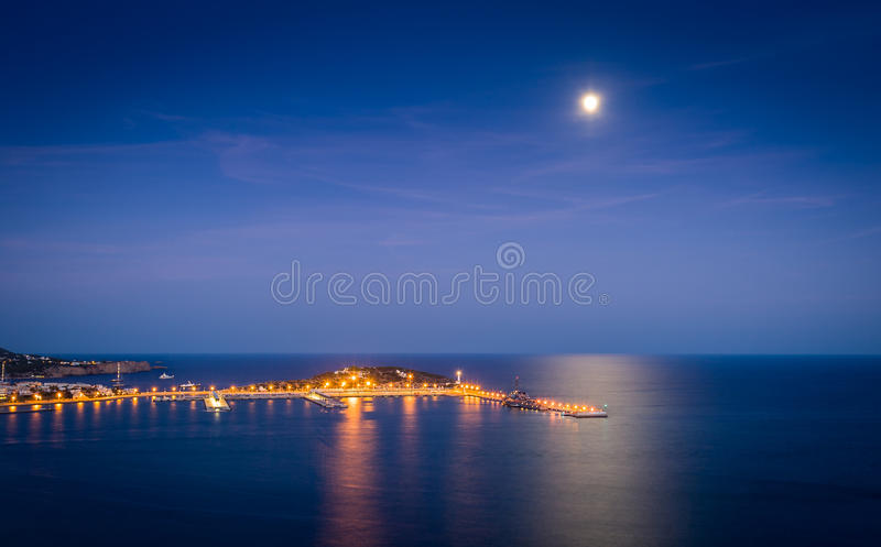 Porto de Ibiza na noite imagem de stock royalty free