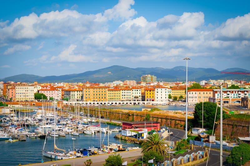 Porto de Livorno, Toscânia, Itália fotos de stock royalty free