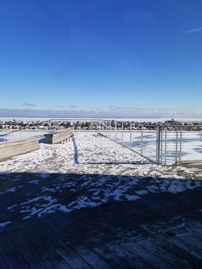 Porto de Milwaukee do inverno fotos de stock royalty free