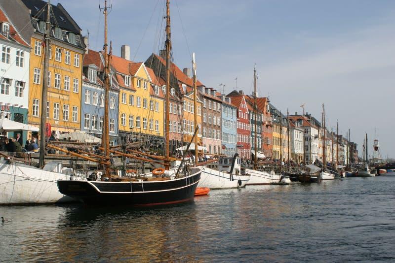 Porto de Nyhavn em Copenhaga foto de stock