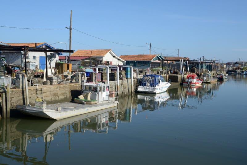 Porto de Ostricultural do la Barbotière no Bassin d 'Arcachon, França fotos de stock