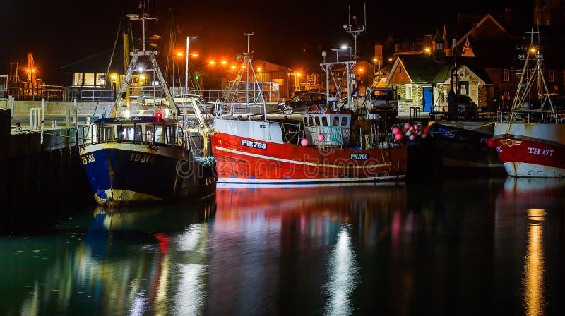 Porto de Padstow na noite fotografia de stock royalty free