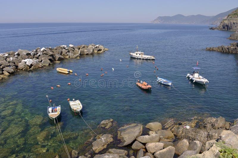Porto de Riomaggiore em Itália foto de stock royalty free