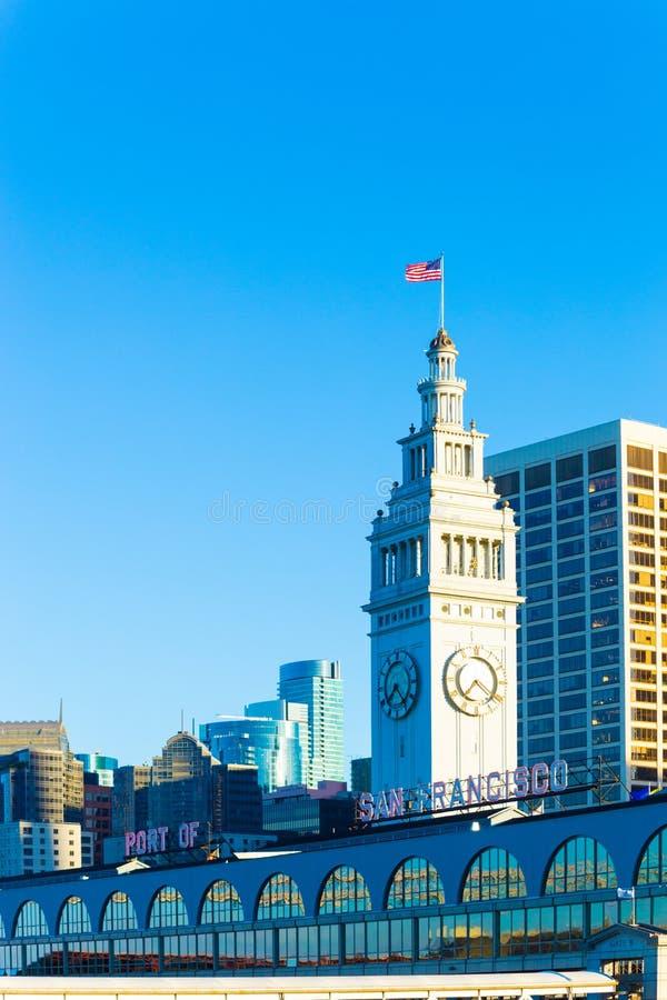 Porto de San Francisco Ferry Building Rear Clock V imagem de stock royalty free