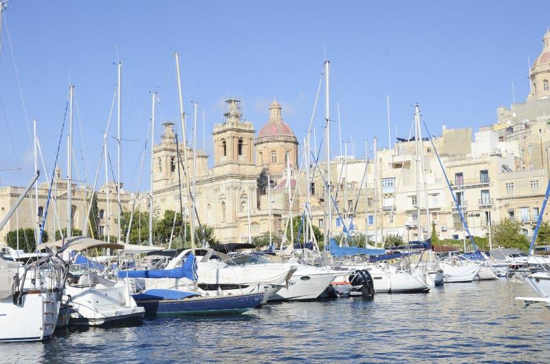Porto de Senglea na baía grande, valletta, Malta fotografia de stock