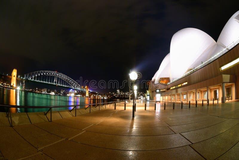 Porto de Sydney no fisheye da noite fotografia de stock royalty free