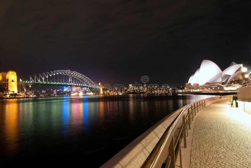 Porto de Sydney no fisheye da noite fotos de stock royalty free