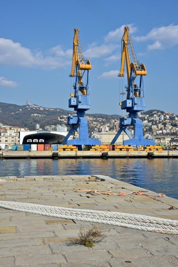 Porto de Trieste com guindastes foto de stock