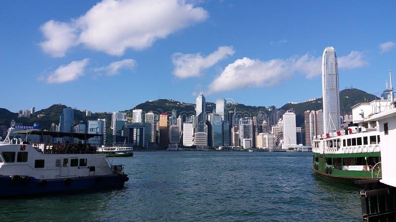 Porto de victoria da opinião da rua de Hong Kong fotografia de stock royalty free
