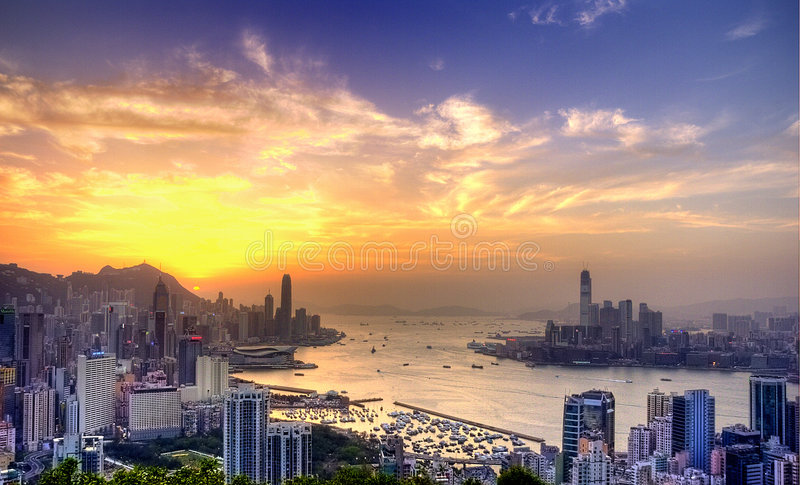 Porto de Victoria na HK imagens de stock