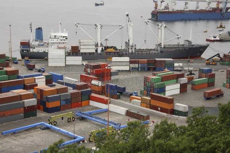 Porto del contenitore di Valparaiso - il Cile - il Sudamerica immagine stock libera da diritti