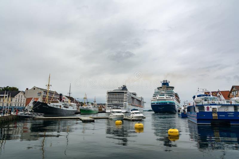 Porto della città di Stavanger in Norvegia immagine stock libera da diritti