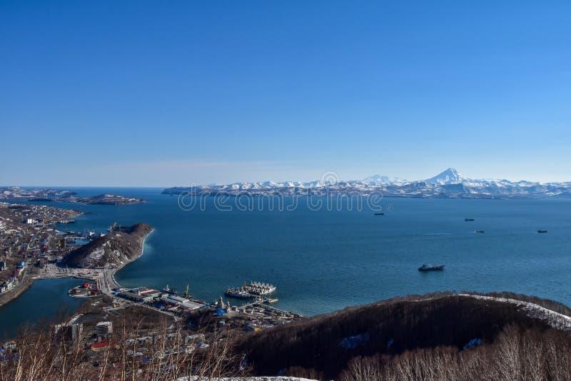Porto di Avacha, Kamchatka, Russia fotografie stock libere da diritti