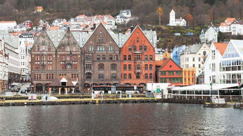 Porto di Bergen, Norvegia fotografie stock libere da diritti