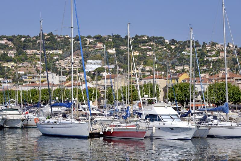 Porto di Golfe-Juan in Francia fotografie stock